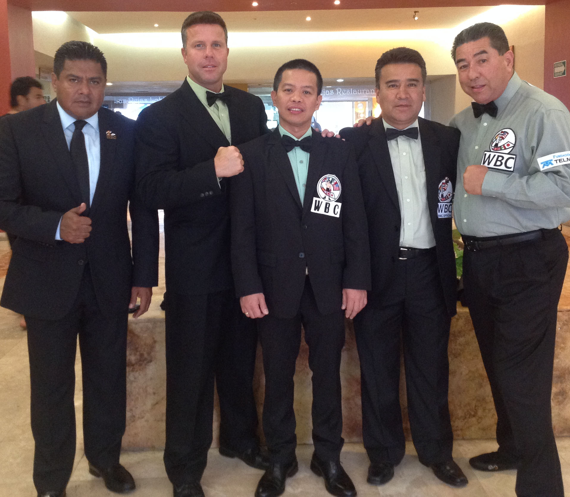 Filipino pride Judge Rey Danseco, center, with his fellow officials in the WBC light flyweight champion Pedro Guevara versus Richard Claveras on April 11 in Mazatlan, Mexico. From left, supervisor, Atty. Juan Carlos Pelayo, judge Tom Taylor, Danseco, Mexico's Humberto Olivarez, and American referee Jerry Cantu. (Photo courtesy of WBC)