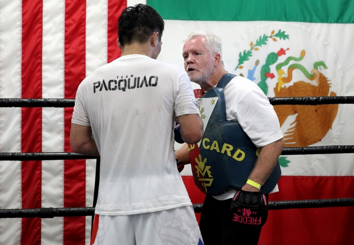 Manny Pacquiao training hard with Freddie Roach at the Wild Card   Boxen247.com (Kristian von Sponneck)