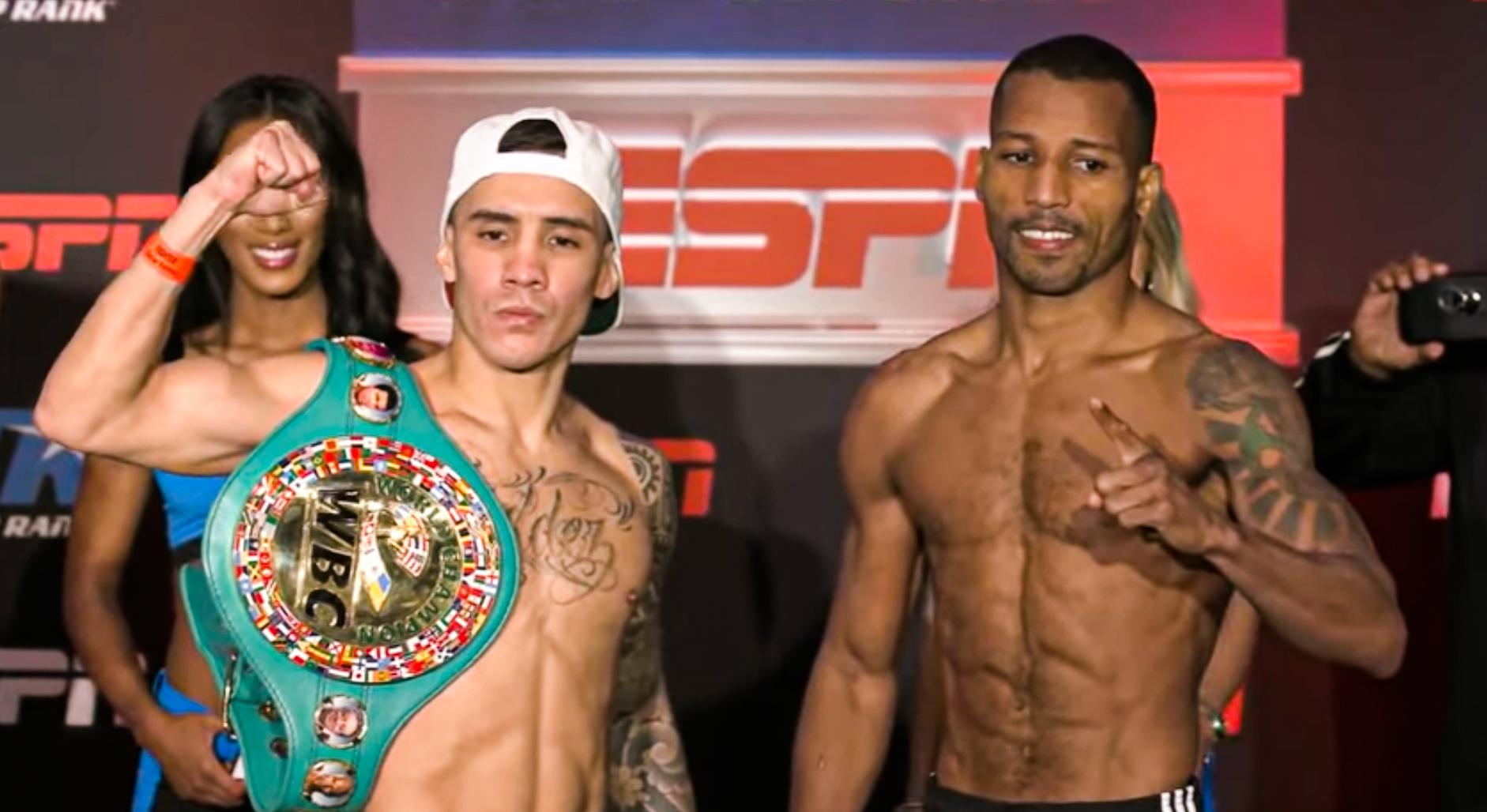 Oscar Valdez & Robson Conceição weigh-in ahead of Friday night | Boxen247.com (Kristian von Sponneck)